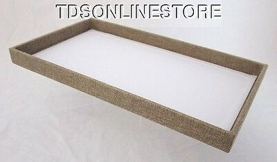 Large Wood Jewelry Tray Burlap Covered
