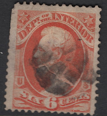 UNITED STATES OFFICIAL : 1873 6c INTERIOR  stamp -SCOTT # O18 used