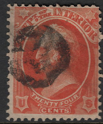 UNITED STATES OFFICIAL : 1873 24c INTERIOR  stamp -SCOTT # O22 used