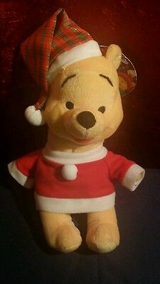 Winnie the Pooh Holiday Wintertime Christmas Plush Bear Stuffed Doll Disney 8""