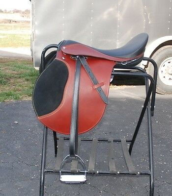 """Chestnut  Leather 16"""" Draft Horse English Saddle by Ascot with 10"""" gullet"""