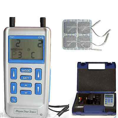 PHYSIO DUO TENS + machine, 4 pads, power adaptor, natural pain relief unit