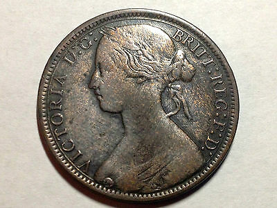Great Britain 1866 One Penny Nice Grade Coin