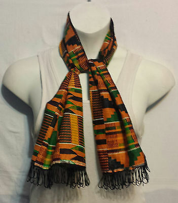 African Kente Cloth Neck Head Scarf Scarves Tie Wrap Dashiki Shemagh P02 1 Size