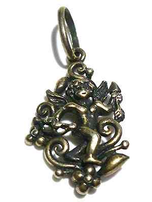 ANTIQUE OLD ESTATE ORNATE STERLING SILVER WOMENS CHERUB CHARM OR PENDANT