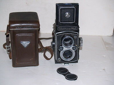 Vintage Yashica Mat 120 Film Camera - 1950s-with Leather Case and Lens Covers