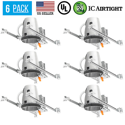 "6 Pack - 4"" inch LED New Construction Recessed Can Lighting Airtight IC Housing"
