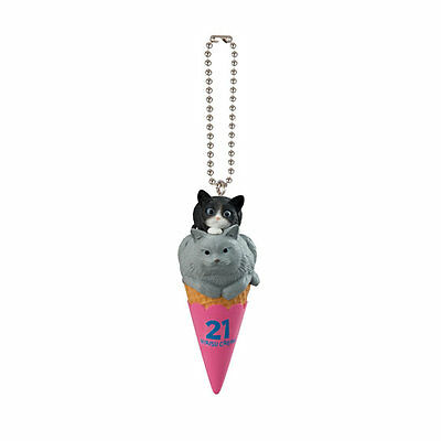 Japanese Gashapon Cat Cafe Capsule Toy Double Scoop Cats Figurine with Keychain