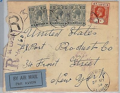 ST LUCIA -  POSTAL HISTORY - REGISTERED AIRMAIL COVER to USA - 1934