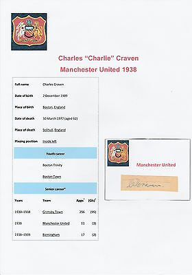 Charlie Craven Manchester United 1938 Very Rare Orig Hand Signed Cutting/card