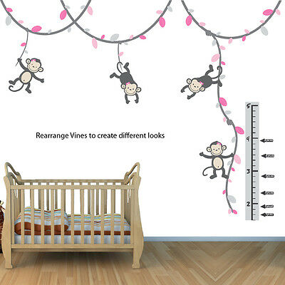 Girl Monkey Growth Chart Wall Decal, Height Chart for Wall, Monkey Vine Sticker
