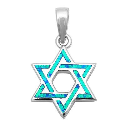 Blue Opal Star of David  .925 Sterling Silver Pendant