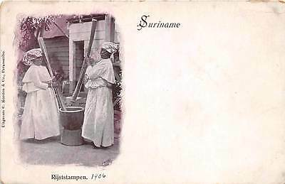 SURINAME ~ 2 NATIVE WOMEN POUNDING RICE ~ dated 1906