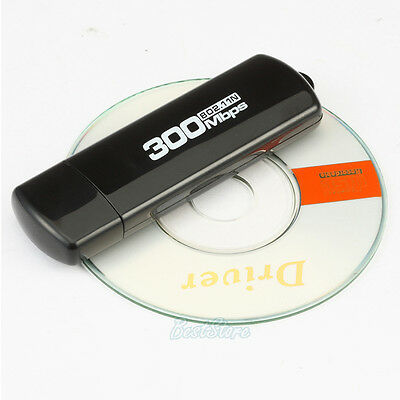 300Mbps USB Wireless WiFi Lan Network Receiver Card Adapter For Desktop PC