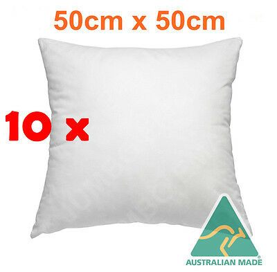 10 x Aus Made New Cushion Inserts Premium Polyester Fibre Filling---50cm x 50cm