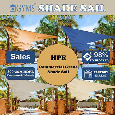 Shade Sail Extra Heavy Duty Beige Sand Sun Canopy Outdoor Cloth 300g/m² 6 Size