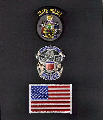 MAINE State POLICE Protect and Serve USA FLAG Sew On Iron On PATCH SET 3 Pcs New