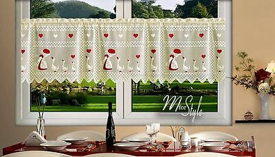 "Cream Cafe Net Curtain Lace Geese 24"" drop Price Per Metre"