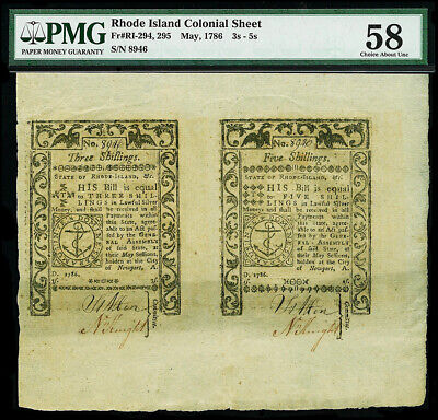 May, 1786 Rhode Island 3 & 5 Shillings Uncut Colonial Sheet Pmg Choice Au 58