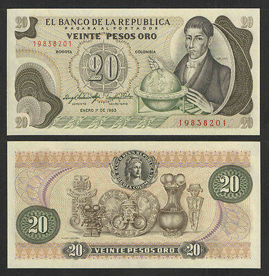 COLUMBIA 1983 20 PESOS ORO CURRENCY P-409d UNCIRCULATED