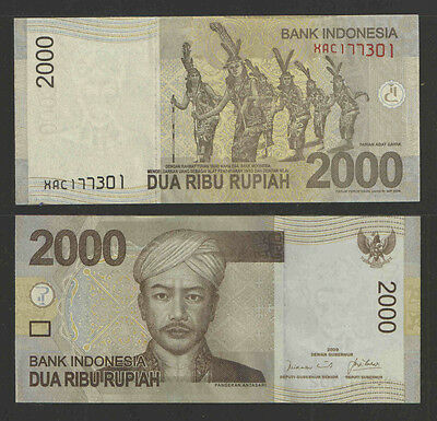 Indonesia 2009 2,000 Rupiah Currency P-New Uncirculated