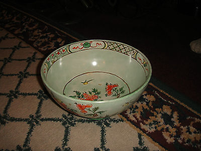 Antique Hand Painted Asian Theme Bowl-Signed-Dated 1938-Green-Flowers & Birds