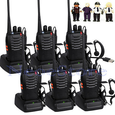 6pcs 6 Walkie Talkies UHF 400-470MHZ 2Way Radio 16CH 5W BF-888S Earpiece+Charger