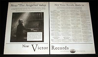 """1926 OLD MAGAZINE PRINT AD, NEW VICTOR RECORDS, HEAR """"THE ANGELUS"""" TODAY, ART!"""