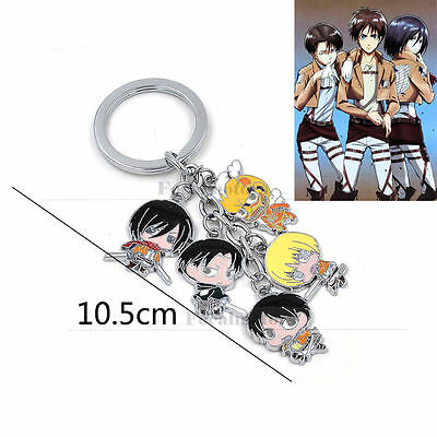 New Anime Attack on Titan Keychain Character Cosplay Key Chains Keyring 2015 Hot