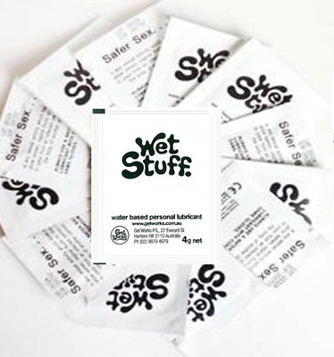 WET STUFF SEX Lube Silicone Water Flavoured Anal Lubricant ASSORTED 6 Sachets