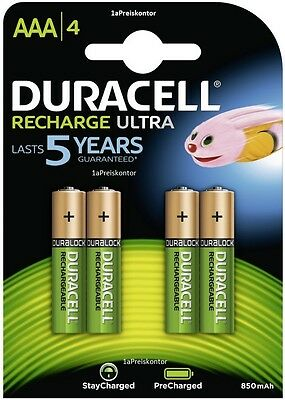 4x Akku AAA Micro Duracell Recharge Ultra - Stays Charged - 850 mAh - Blister