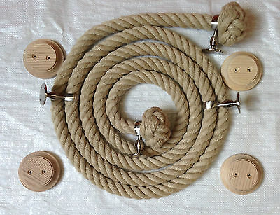 32 mm Natural hemp Bannister/Stair rope, 12 foot, with 4 Satin brackets