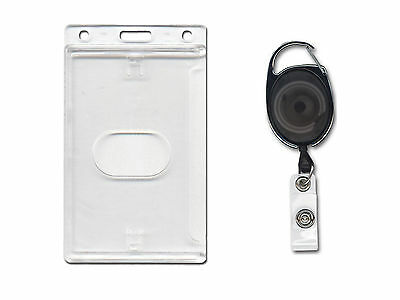 ID Card Holder Vertical Enclosed and Premier YoYo Retractable Reel