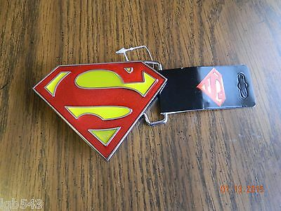 """New with tags- OFFICIALLY LICENSED """"SUPERMAN"""" retro logo  METAL BELT BUCKLE"""