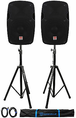"""2) Rockville SPG88 8"""" Passive 800W DJ PA Speakers 8 Ohm 2) Stands+2) Cables+Case"""