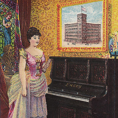 Estey Piano Co New York NY Factory View Antique Victorian Advertising Trade Card