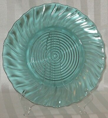 "Jeannette Glass Swirl 9 1/4"" Dinner Plate ULTRAMARINE"
