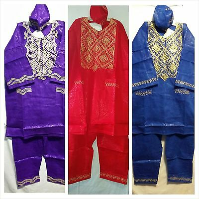 African Clothic Men's Pant Suit Dashiki Vintag Set Brocade Prant Free size Plus