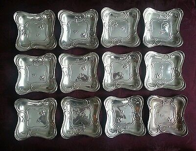 12 Sterling Silver Simpson, Hall & Miller Cocktail Plates