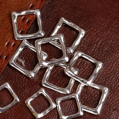 20pcs Silver Plated Square Bead Frames 12 x 12mm Findings for DIY Jewelry Making