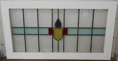 """OLD ENGLISH LEADED STAINED GLASS WINDOW TRANSOM Abstract Band  36.75"""" x 20.75"""""""