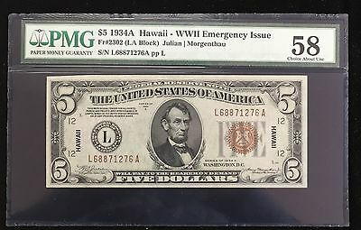 1934 A $5 Hawaii FR 2302 PMG 58 Good Embossing WWII Emergency Issue