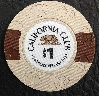 $1 California Club Commemorative Casino Chip Las Vegas Nv Free Shipping