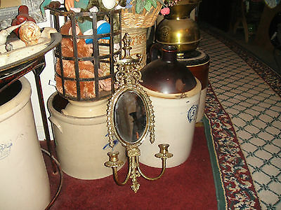 Vintage Victorian Style Candelabra Wall Sconce W/Center Mirror-Brass Metal-LQQK