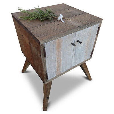 Rustic Eco Recycled Solid Timber Side Lamp Storage Table in White Free Delivery
