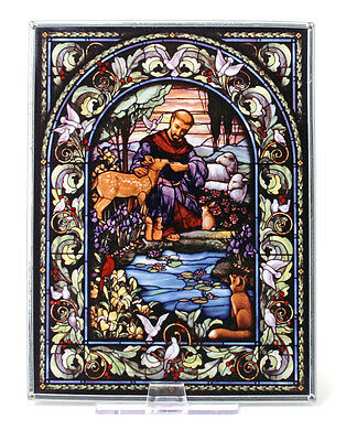 "CHRISTIAN GIFT--New Glassmasters ""ST. FRANCIS OF ASSISI"" Stained Glass 9"" X 7"""