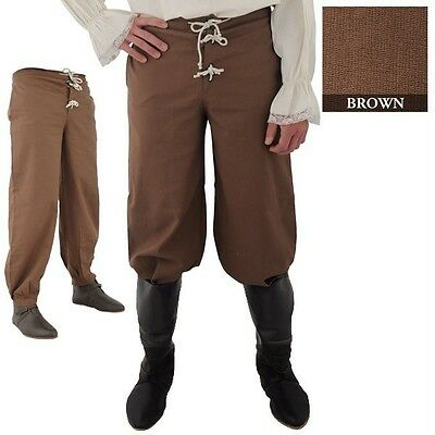 MEDIEVAL RENAISSANCE PIRATE MUSKETEER VIKING Mens All Period Brown COTTON PANTS