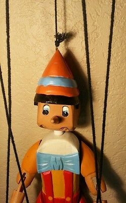"Pinocchio Hand Made Vintage 17"" Tall Folk Art Wooden Marionette Puppet Doll"