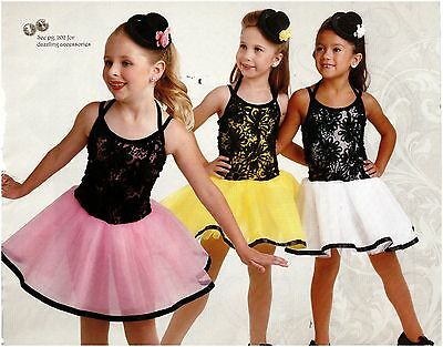 NWT Soutache Dance Costume w/ Mini Tophat 3 colors Pageant Organdy 3 layer skirt