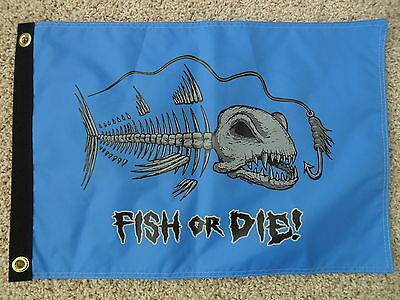 """Happy Hour Fish Blue 12""""x18"""" Double Sided Flag Bar Restaurant Cabin Boat 100D"""